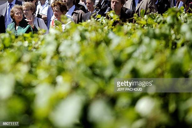 Chilean president Michelle Bachelet looks at vineyards on May 30, 2009 during a visit of Chassagne-Montrachet in the Burgundy region, the village of...