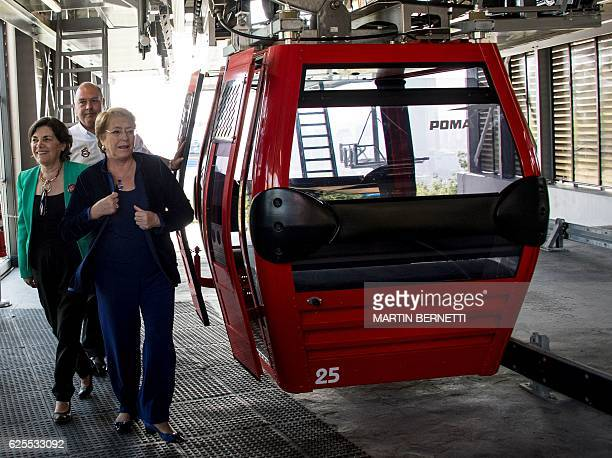 Chilean President Michelle Bachelet reopens Santiago cable car which has 46 cabins and is expected to translate thousand people per day in one of the...