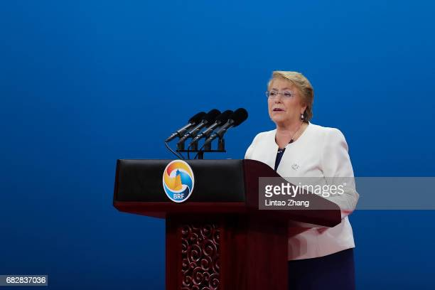 Chilean President Michelle Bachelet speaks during the Belt and Road Forum for International Cooperation on May 14 2017 in Beijing China