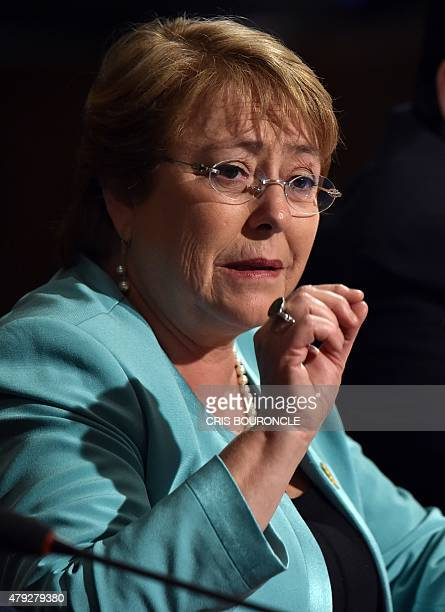 Chilean President Michelle Bachelet speaks during the inauguration of the 10th Pacific Alliance Summit in Paracas 250 km south of Lima on July 2 2015...