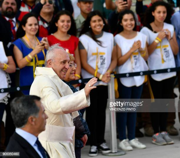 Chilean President Michelle Bachelet welcomes Pope Francis to Chile at the Arturo Merino Benitez airport in Santiago on January 15 2018 Pope Francis...