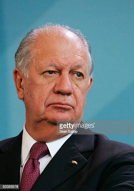 Chilean President Ricardo Lagos Escobar attends a news conference at the Chancellery January 24 2005 in Berlin Germany Escobar is on an official...