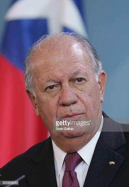 Chilean President Ricardo Lagos Escobar attends a news conference with German Chancellor Gerhard Schroeder at the Chancellery January 24 2005 in...
