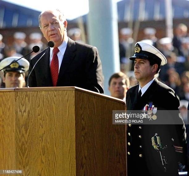 Chilean president Ricardo Lagos speaks during a ceremony for the new commanding admiral Admiral Miguel Angel Vergara in Valparaiso Chile 18 June 2001...