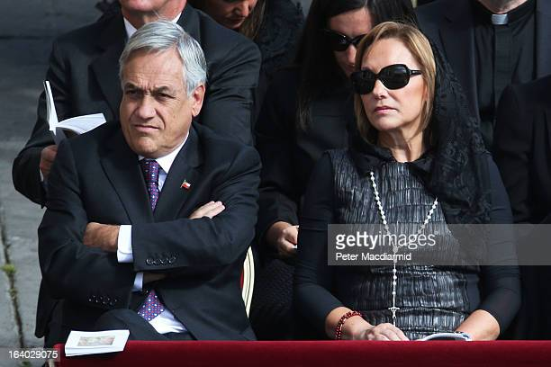 Chilean President Sebastian Pinera and his wife Cecilia Morel attend the Inauguration Mass for Pope Francis in St Peter's Square on March 19 2013 in...