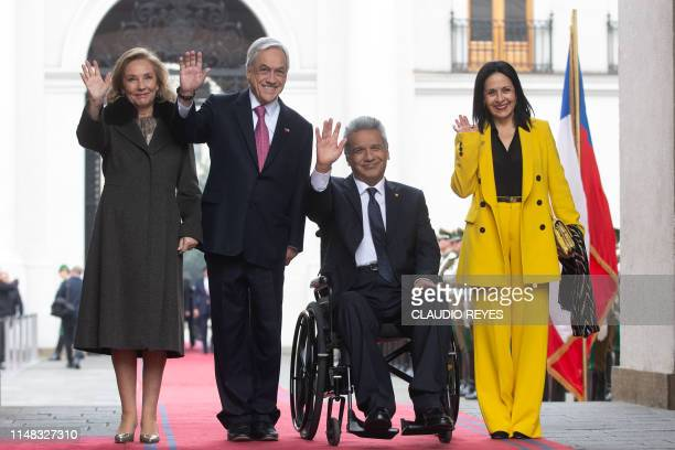 Chilean President Sebastian Pinera and his wife Cecilia Morel pose with Ecuador's President Lenin Moreno and his wife Rocio Gonzalez during the...