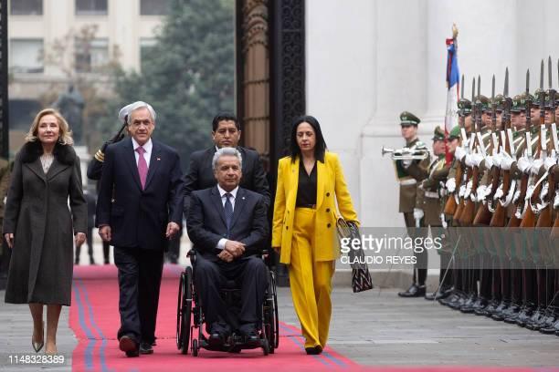 Chilean President Sebastian Pinera and his wife Cecilia Morel welcome Ecuador's President Lenin Moreno and his wife Rocio Gonzalez at La Moneda...