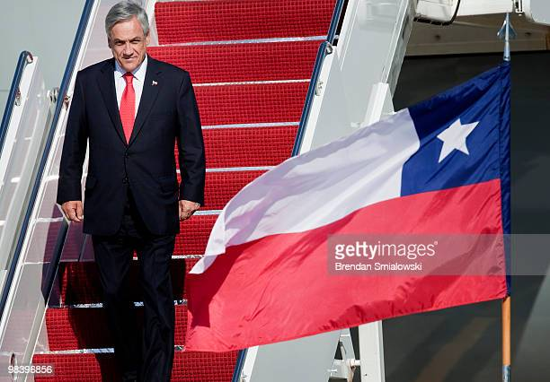 Chilean President Sebastian Pinera arrives with his delegation April 11 2010 at Andrews Air Force Base in Maryland Leaders from around the world...