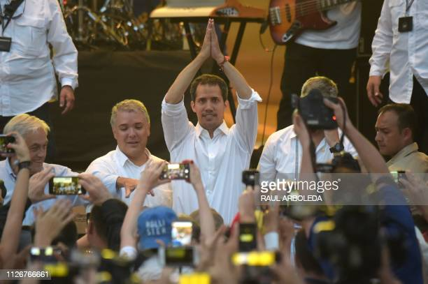 Chilean president Sebastian Pinera Colombian President Ivan Duque Venezuela's opposition leader Juan Guaido wave to the public during the Venezuela...