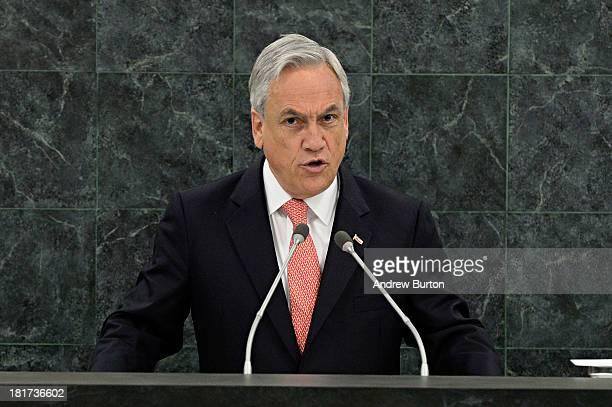 Chilean President Sebastian Pinera Echenique speaks at the 68th United Nations General Assembly on September 24 2013 in New York City Over 120 prime...
