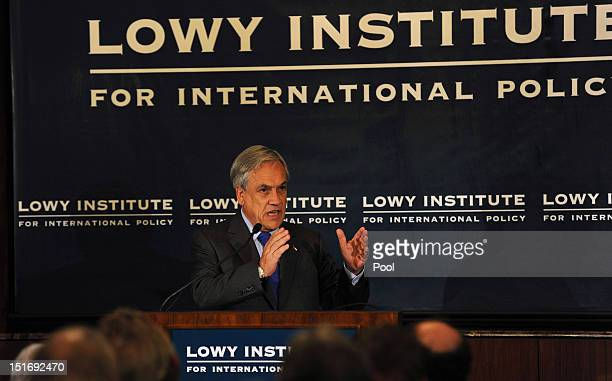 Chilean President Sebastian Pinera speaks at the Lowy Institute for International Policy on September 10 2012 in Sydney Australia Pinera is on an...