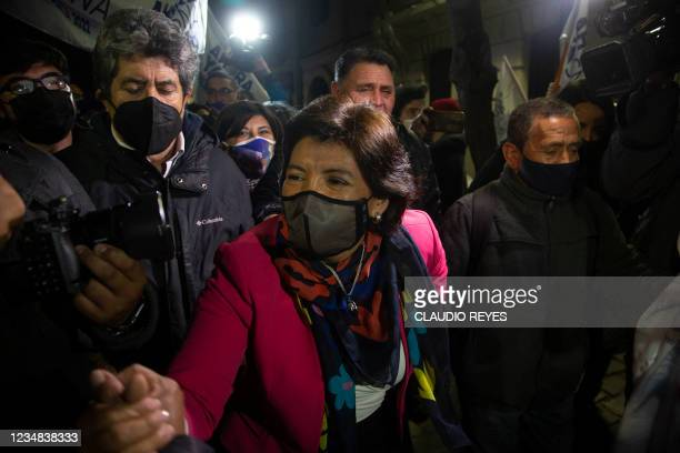 Chilean Presidential candidate Yasna Provoste greets people before a Mapuche ceremony after registering her presidential candidacy in Santiago,...