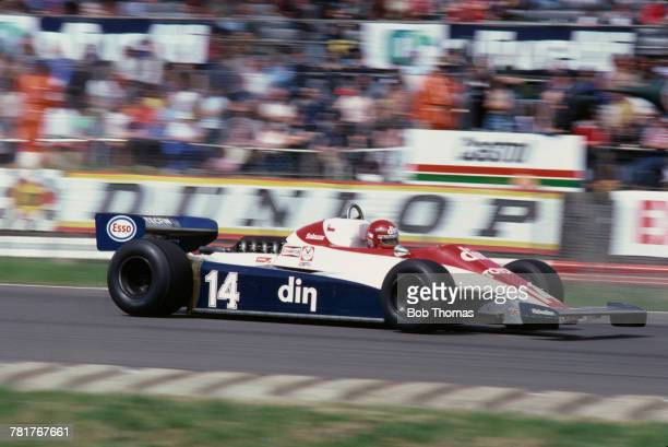 Chilean racing driver Eliseo Salazar drives the Ensign Racing Ensign N180B Ford Cosworth DFV 30 V8 during qualification for the 1981 British Grand...
