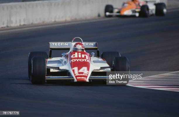 Chilean racing driver Eliseo Salazar drives the Ensign Racing Ensign N180B Ford Cosworth DFV 30 V8 in the 1981 Caesars Palace Grand Prix in Las Vegas...