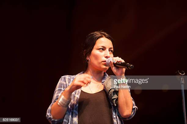 Chilean rapper Ana Tijoux performs at the Pritzker Pavilion in Millenium Park Chicago Illinois July 23 2012