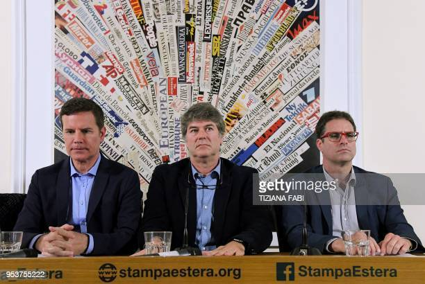Chilean sexual abuse victims Jose Andres Murillo James Hamilton and Juan Carlos Cruz hold a news conference at the Foreign Press Association in Rome...