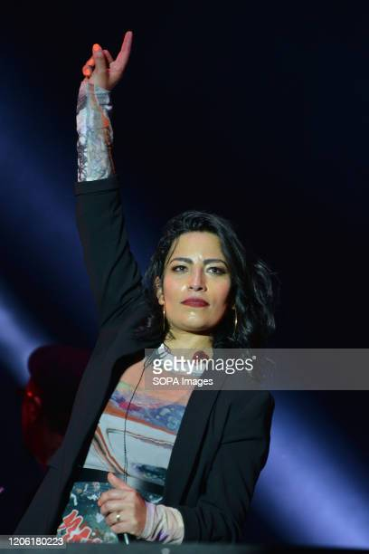 Chilean singer Ana Tijoux performs live on stage during the Tiempo de Mujeres Music Festival at Zocalo in Mexico City.
