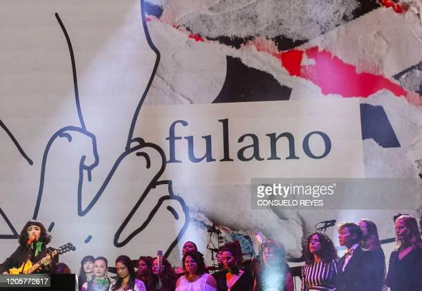 Chilean singer Mon Laferte and Mexican singers perform during Tiempo de Mujeres concert at Zocalo square in Mexico City on March 72020