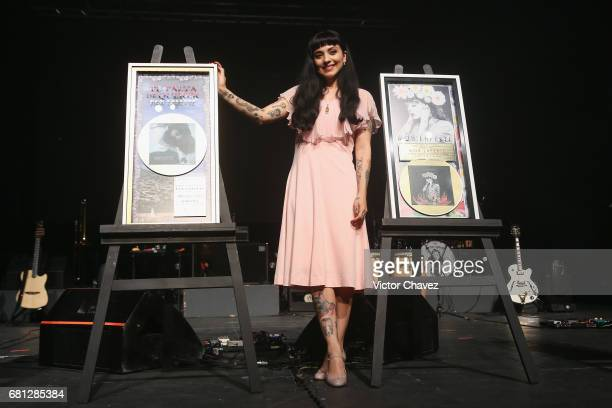 Chilean singer Mon Laferte attends a press conference to promote her new album La Trenza at Teatro de La Ciudad on May 9 2017 in Mexico City Mexico