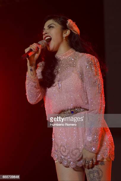 Chilean singer Mon Laferte performs during a show as part of the Vive Latino 2017 at Foro Sol on March 19 2017 in Mexico City Mexico