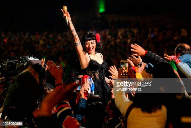 TOPSHOT Chilean singer Mon Laferte performs during the 61th Vina del Mar International Song Festival in Vina del Mar Chile on February 24 2020