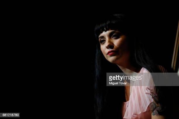 Chilean singer Mon Laferte speaks during the press conference to present her new album 'La Trenza' at Teatro de la Ciudad Esperanza Iris on May 09...