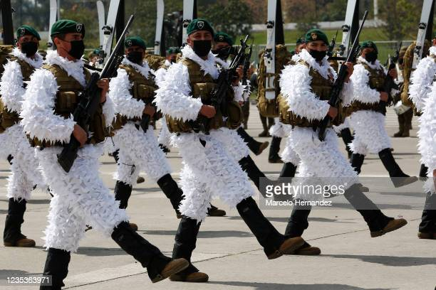 Chilean soldiers participate in the Military Parade as part of Independence Day celebrations on September 19, 2021 in Santiago, Chile. The Chilean...