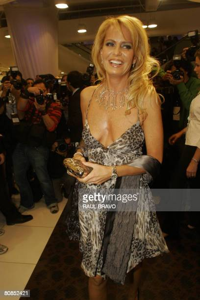 Chilean television entertainer Cecilia Bolocco former Miss Universe 1987 and exwife of former Argentine president Carlos Menem arrives for a fashion...