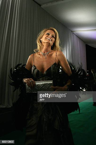 Chilean television entertainer Cecilia Bolocco Miss Universe 1987 and exwife of former Argentine president Carlos Menem arrives for a fashion event...