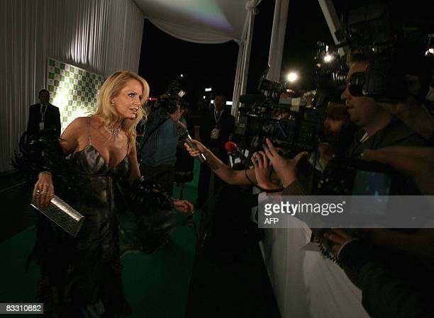Chilean television entertainer Cecilia Bolocco Miss Universe 1987 and exwife of former Argentine president Carlos Menem arrives at a fashion event in...