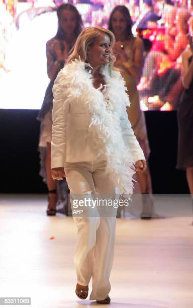 Chilean television entertainer Cecilia Bolocco Miss Universe 1987 and exwife of former Argentine president Carlos Menem walks the catwalk at a...
