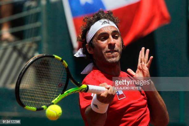 Chilean tennis player Gonzalo Lama returns the ball to Ecuadorean player Roberto Quiroz during their Davis Cup singles tennis match at the National...