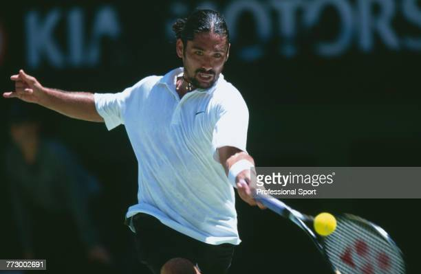 Chilean tennis player Marcelo Rios pictured in action during competition to reach the quarterfinals of the Men's Singles tennis tournament at the...