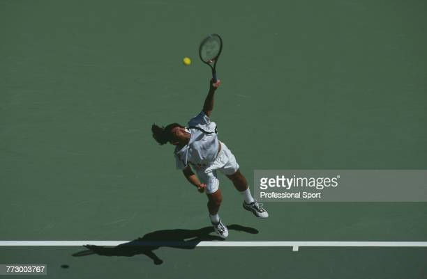 Chilean tennis player Marcelo Rios pictured in action during competition to reach the final of the Men's Singles tennis tournament at the 1998...