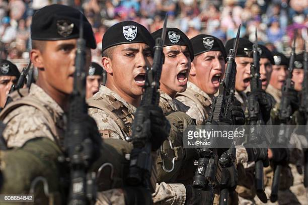 Chilean troops march during the military parade Chilean President Michelle Bachelet attends the traditional military parade in Santiago Chile on...
