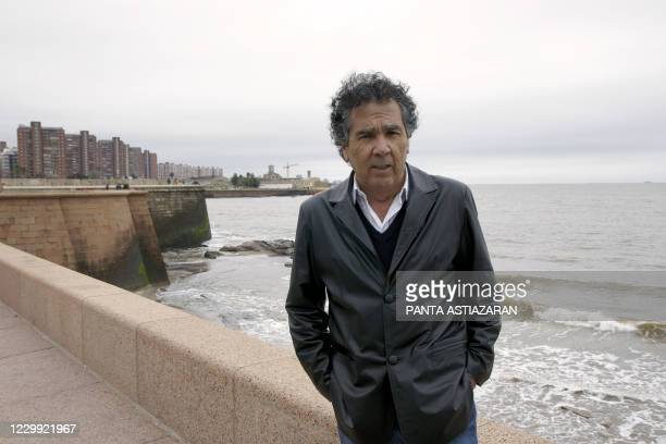 Chilean writer Hernan Rivera Letelier is photographed at Montevideo's seafront on June 19, 2010. Rivera Letelier, multi-awarded and winner of the...