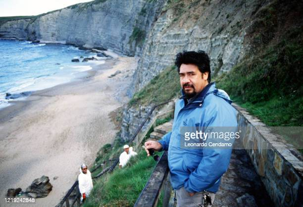 Chilean writer Luis Sepulveda near cliffs Gijon 11th April 2003