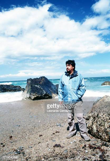 Chilean writer Luis Sepulveda on a beach Gijon 11th April 2003