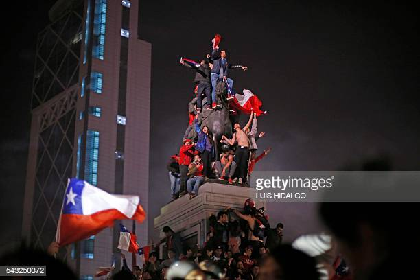 Chileans celebrate victory over Argentina in the final match of the Copa America Centenario 2016 in Santiago, Chile, June 26, 2016. Holders Chile...