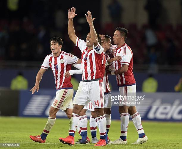 Chilenians players celebrate after their 2015 Copa America football championship match against Argentina in La Serena Chile on June 13 2015 The match...