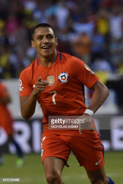 Chile's Alexis Sanchez celebrates after his team scored against Colombia during the Copa America Centenario semifinal football match in Chicago...