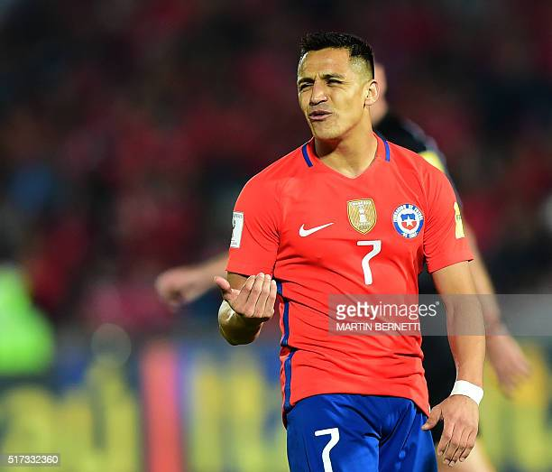 Chile's Alexis Sanchez gestures during the Russia 2018 FIFA World Cup South American Qualifiers' football match against Argentina in Santiago on...