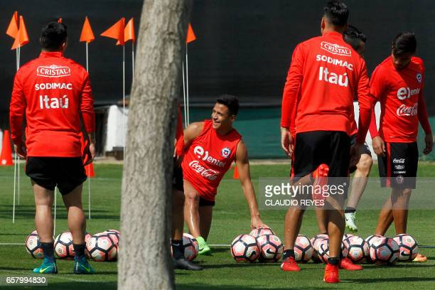 Chile's Alexis Sanchez takes part in a training session in Santiago Chile on March 26 on the eve of their FIFA World Cup Russia 2018 South American...