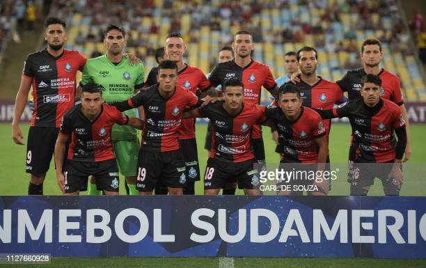 Chile's Antofagasta line up before their Copa Sudamericana football match against Brazil's Fluminense at Maracana stadium in Rio de Janeiro Brazil on...