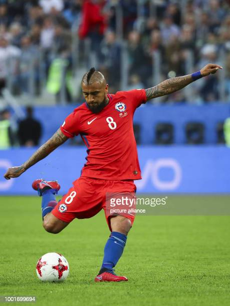 Chile's Arturo Vidal during the Confederations Cup finale between Chile and Germany at the Saint Petersburg Stadium in Saint Petersburg Russia 2July...