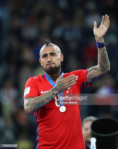 Chile's Arturo Vidal waves after the Confederations Cup finale between Chile and Germany at the Saint Petersburg Stadium in Saint Petersburg Russia...