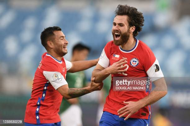Chile's Ben Brereton celebrates after scoring against Bolivia during their Conmebol Copa America 2021 football tournament group phase match at the...