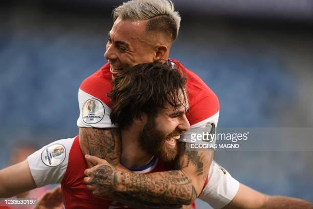 Chile's Ben Brereton celebrates with teammate Eduardo Vargas after scoring against Bolivia during their Conmebol Copa America 2021 football...