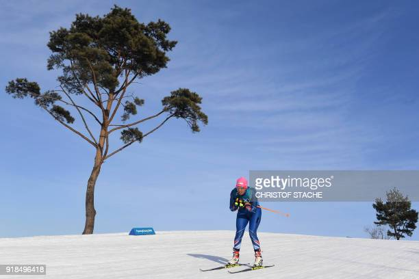 Chile's Claudia Salcedo competes during the women's 10km freestyle crosscountry competition at the Alpensia cross country ski centre during the...