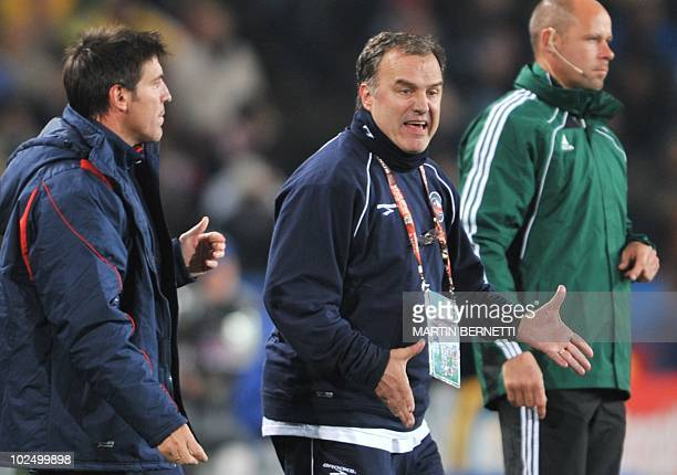 Chile's coach Marcelo Bielsa gestures during the 2010 World Cup round of 16 football match Brazil vs Chile on June 28 2010 at Ellis Park stadium in...